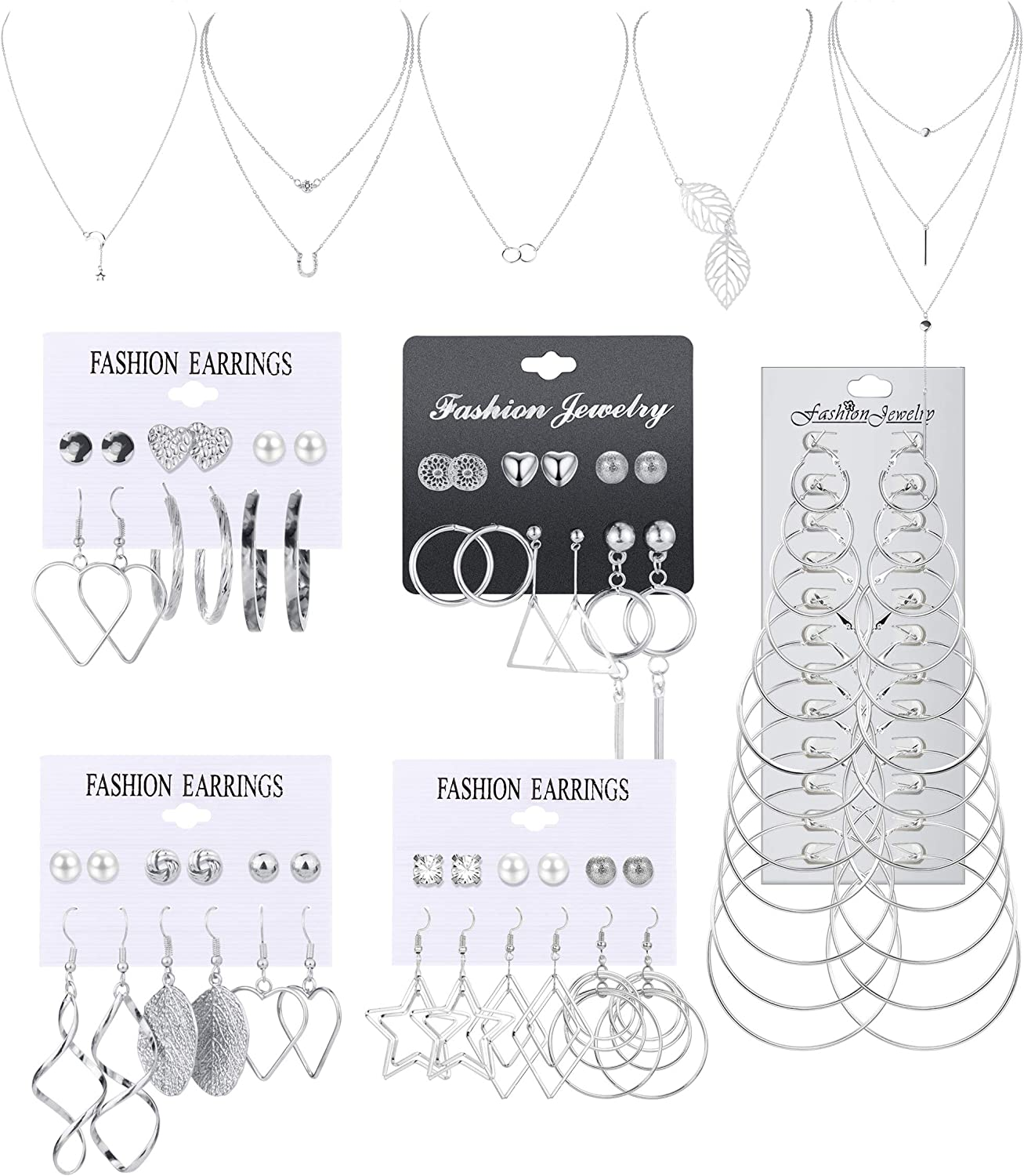 ORAZIO Necklace and Earring Jewelry Set with 36 Pairs Layered Ball Dangle Hoop Stud Earrings and 5 PCS Necklaces of Different Lengths for Women Jewelry Fashion and Valentine Birthday Party Gift