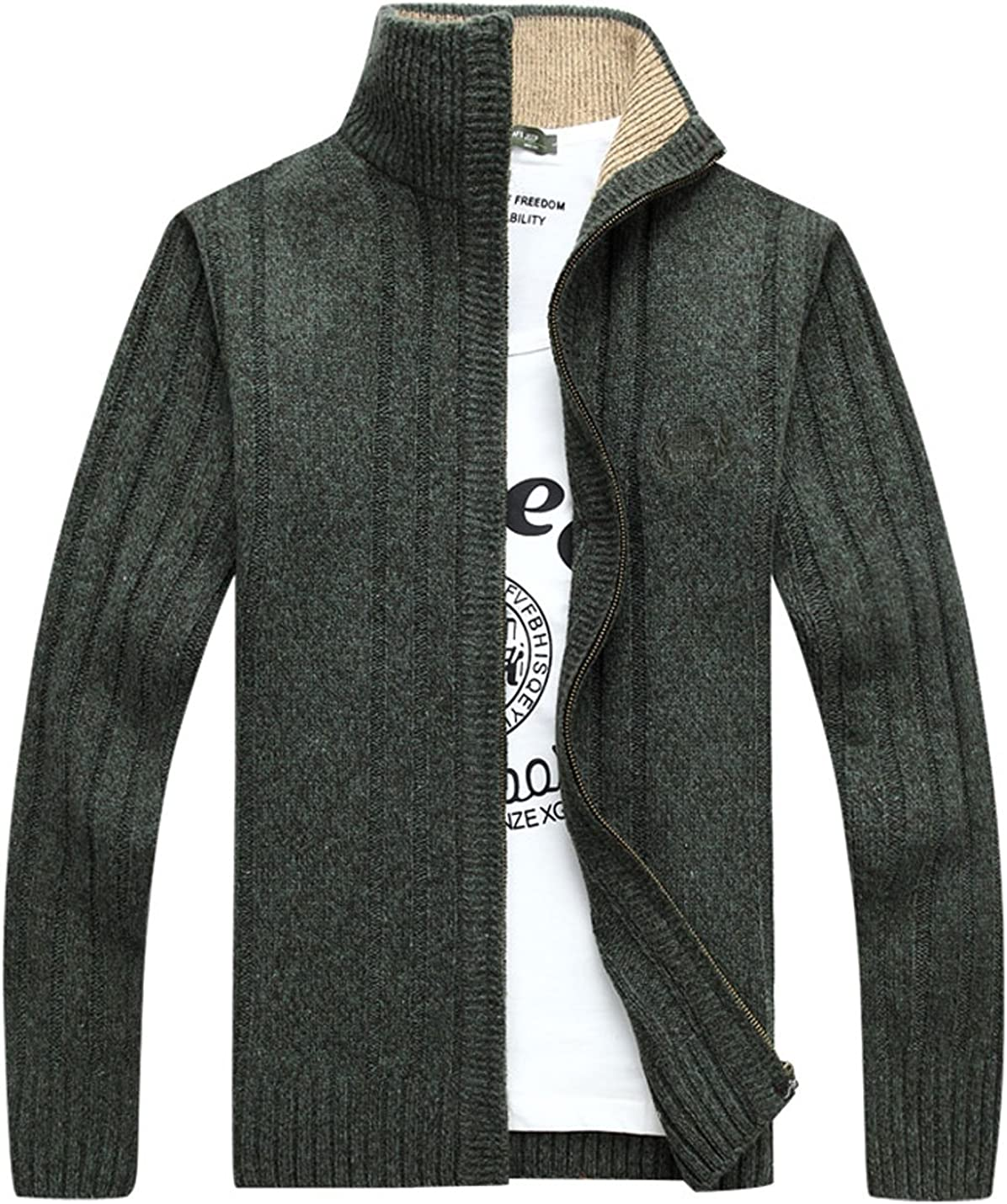 Yeokou Men's Casual Slim Stand Collar Full Zip Thick Knitted Cardigan Sweaters