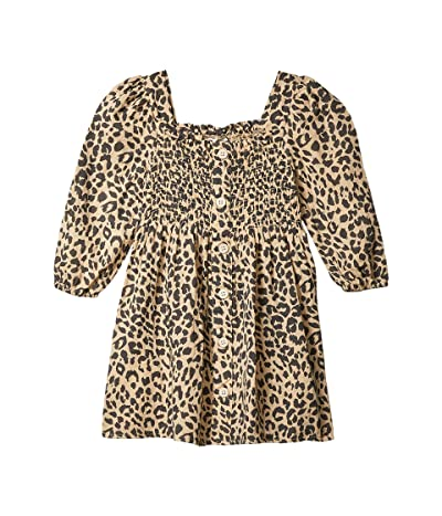 COTTON ON Lindsay Long Sleeve Dress (Little Kids) (Semolina/Leopard) Girl