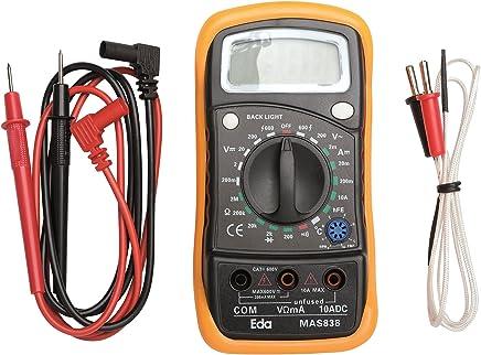 Multímetro digital com sensor de temperatura, Eda, 9KD, Preto