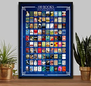 Amy and Umy Scratch Off Books Poster 100 Must Read of All Time Bucket List Large 16.5 x 23.4 inches - Wall Decor & Entertainment Piece - Premium Quality & Print - All-Time Favorite Book Poster