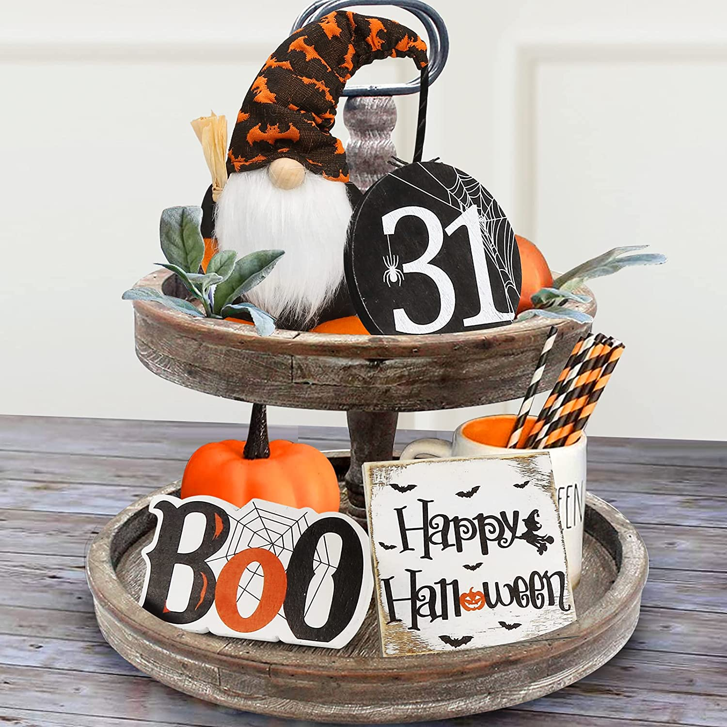 Halloween Decor - Halloween Decorations - Boo Happy Halloween Wooden Signs & Cute Gnomes Plush with Bats and Spider - Farmhouse Rustic Tiered Tray Decor Items for Home Table House Room