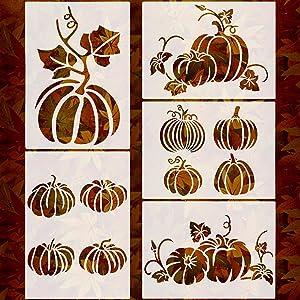 5 Sheets 7.9 x 5.5 inch Pumpkin Stencils Thanksgiving Templates Fall Pumpkin Painting Stencil Reusable Pumpkin Stencil for Fall Decorations Windows Wall Crafts Arts Farmhouse Decor
