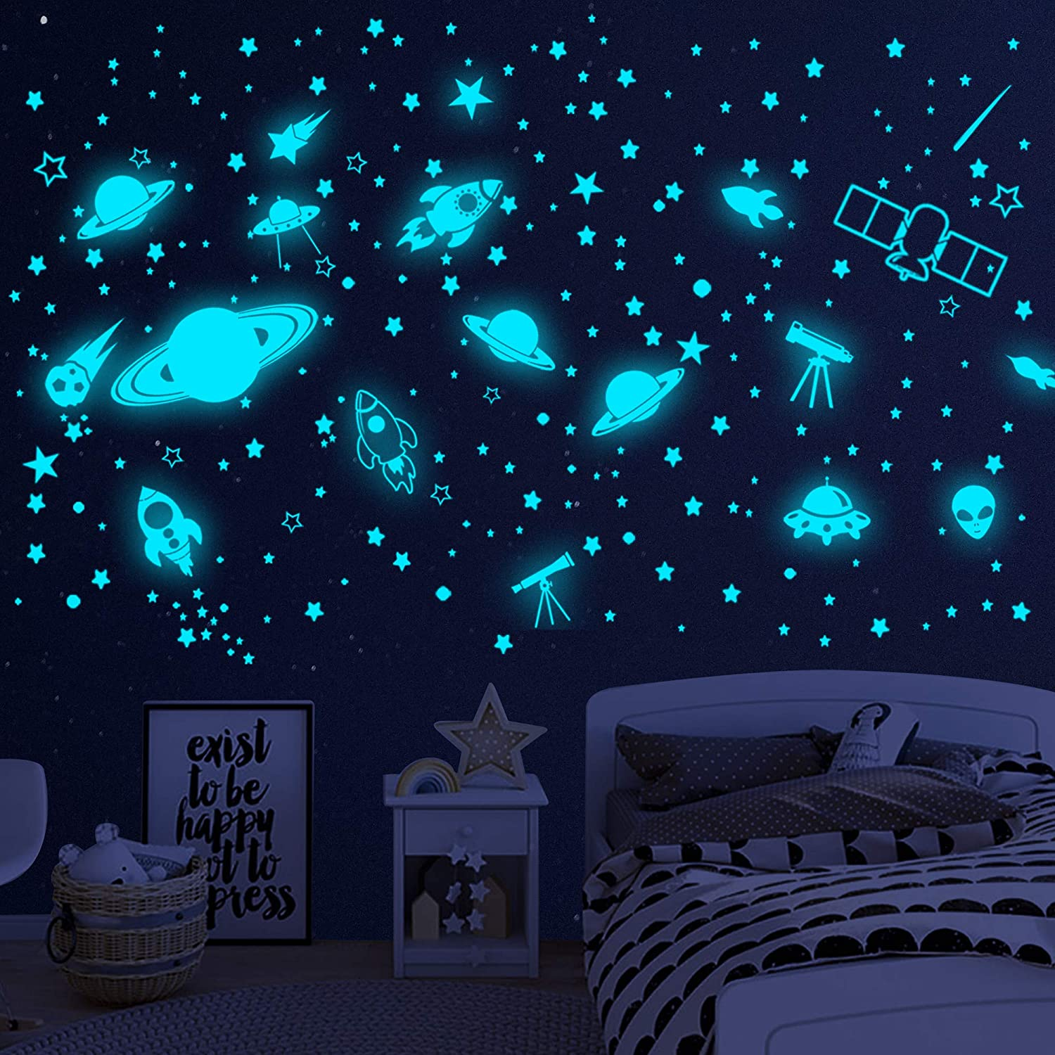 Glow in The Dark Stars for Ceiling,Glowing Space Planet Wall Stickers Solar System Wall Decal,Galaxy Rockets Wall Decor for Kids Boys Girls Bedroom Nursery Room Playroom Ceiling Decor