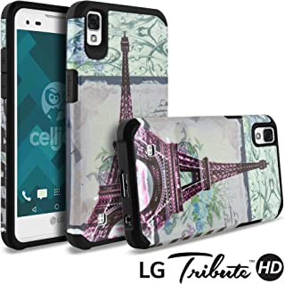 LG Tribute HD Case, LG X Style Case, Celljoy [Liquid Armor] (Eiffel Tower Paris Design) LG LS676 Slim Fit [Dual Layer Series] TPU Protective Hybrid [[Shockproof]] - Thin Hard Cover