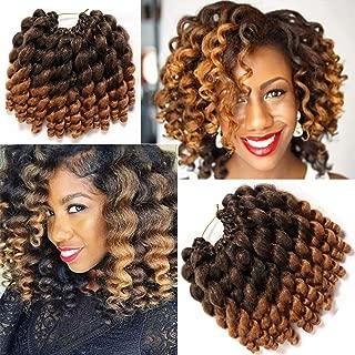 8 Inch 3 Packs Wand Curl Crochet Hair Jamaican Bounce African Collection Havana Mambo Twist Crochet Braids Synthetic Braiding Hair (T1B-27#)