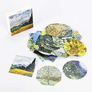 Molshine 270pcs Regular Geometry Stickers Stick Notes Message Strip-Van Gogh Oil Painting Pattern Series for Personalize Laptops, Skateboards, Luggage, Cars, Bumpers, Bikes, Bicycles,Books-(6pack)