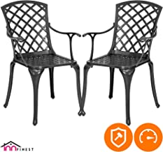 2-Piece Patio Bistro Dining Chair Set - Cast Aluminum Lattice Weave Design - Ergonomic Rust Resistant - for Outdoor Furniture Patio Deck Garden - Optional Add-on Table for 5 or 7 Piece Set (Black)