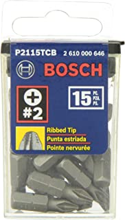 Bosch P2115TCB 1 In. Impact Tough Phillips Insert Bit, 15-Piece
