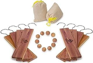 American Cedar Large Hang Ups Set - 10 Cedar Hangers & Cedar Balls , 2 Cedar Sachet - 100% Natural Fragrance Best moth protection & moth repellent