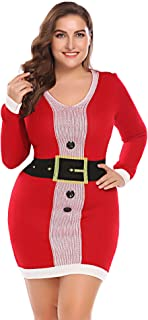 IN'VOLAND Ugly Christmas Sweater Dresses for Women Plus Size - Long Sleeve V-Neck/Cowl Neck/Crewneck Dress