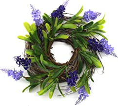 CVHOMEDECO. Rustic Country Artificial Lavender and Twig Wreath, Year Round Full Green Wreath for Indoor or Outdoor Displa...
