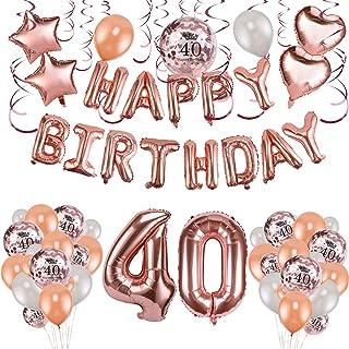 HOWAF Decoración de cumpleaños 40 en Oro Rosa para Mujeres, 59 Piezas Feliz cumpleaños Decoración Globos Guirnalda Banner 40 Años Globos de Confeti y Estrella Corazon Globos de Aluminio
