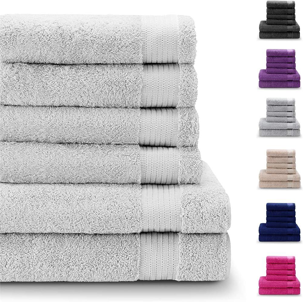 Twinzen,set di 6 pezzi asciugamani, in 100% cotone