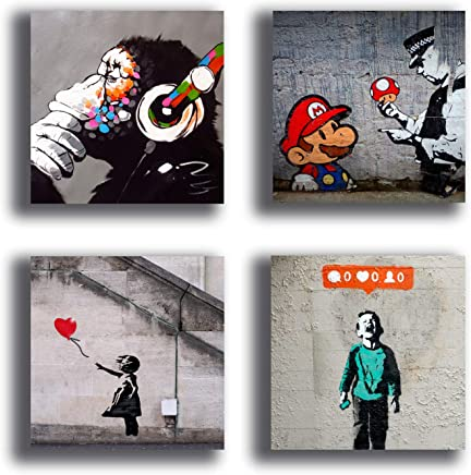 f763848e26 Quadri Moderni BANKSY murales 4 pezzi Stampa su Tela CANVAS Arredamento  Arte Astratto XXL Arredo soggiorno