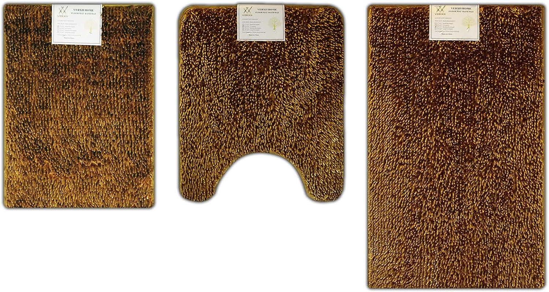 Verxii Home Memory Foam Luxury   No-Slip Soft Shaggy Bath Floor Mat Set   Multiple Choice (3-PCS Combo A, Bright gold))