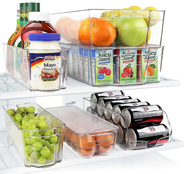 Greenco GRC0250 Fridge Bins Stackable Storage Organizer Containers With Handles For Refrigerator Freezer Pantry And Kitchen Cabinets BPA Standard Clear