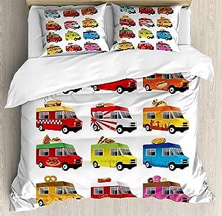 Juegos de sábanas para colchas de Camiones, Helados Asian Donut Burgers Pizza Sushi Hotdog Ilustración Colorida de Camiones de Comida, Juego de Fundas nórdicas de 3 Piezas para niños/niños/adolesc