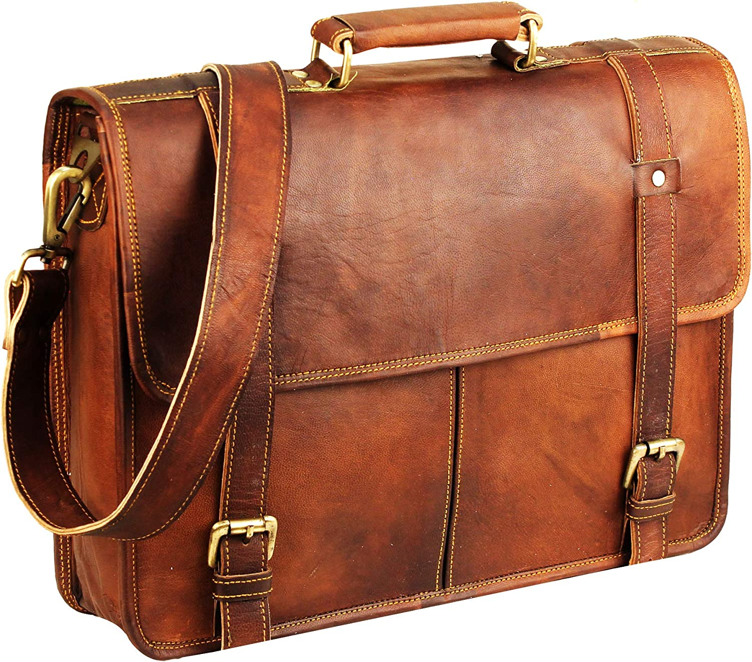 15 Inch Brown Vintage Leather Cheap mail order specialty store laptop Topics on TV mens Leat bag for messenger