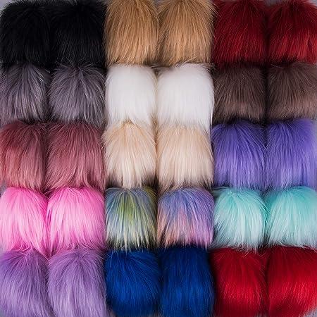 SIQUK 30 Piezas Pompones Piel Artificial Bola para Bolsos Llaveros, 15 Colores