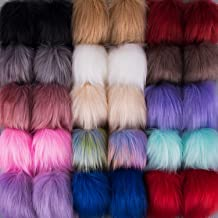 SIQUK 30 Pieces Faux Fur Pom Pom Balls Faux Fox Fur Pom Poms Fluffy Pom Pom with Elastic Loop for Hats Scarves Gloves Bags Accessories (15 Colors, 2 Pcs Per Color)