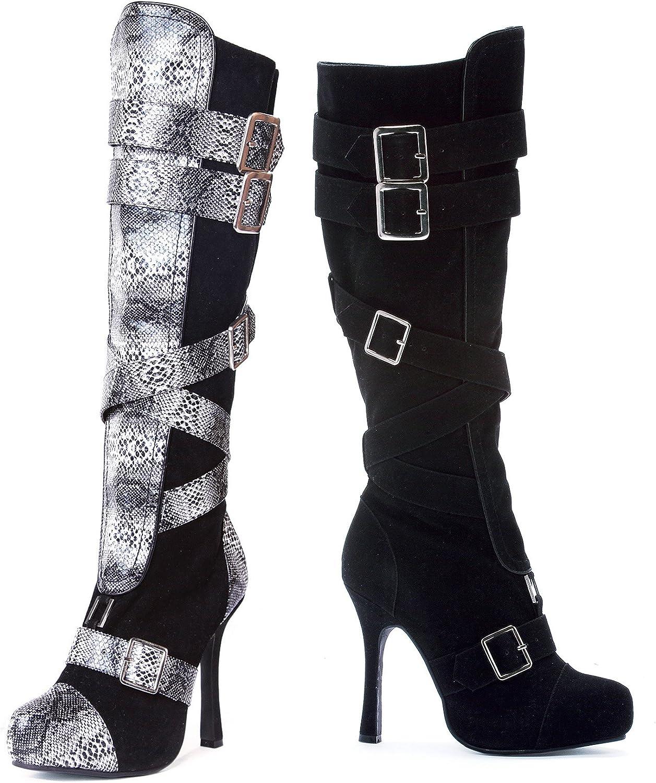 Ellie 420-VIXEN 4  Microfiber Knee High Boot with Buckles Women, Black, 11 Size
