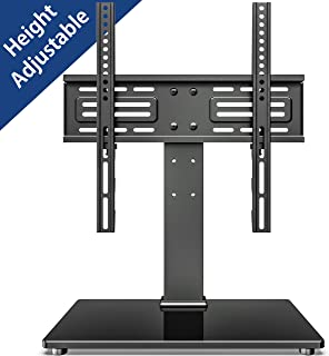 FITUEYES Universal TV Stand Table Top TV Stand for 27-55 inch LCD LED TVs 6 Level Height Adjustable TV Base with Tempered Glass Base & Security Wire VESA 400x400 Holds up to 88lbs TT103701GB