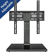 FITUEYES Universal TV Stand - Table Top TV Stand for 27-55 inch LCD LED TVs - 6 Level Height Adjustable TV Base Stand with Tempered Glass Base & Security Wire VESA 400x400 Holds up to 88lbs TT103701GB