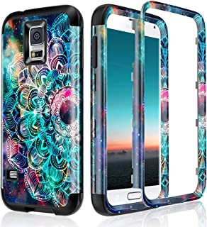 Lamcase for Galaxy S5 Case Shockproof Dual Layer Hard PC & Flexible Silicone High Impact Durable Bumper Armor Protective Case Cover for Samsung Galaxy S5 i9600, Mandala/Galaxy