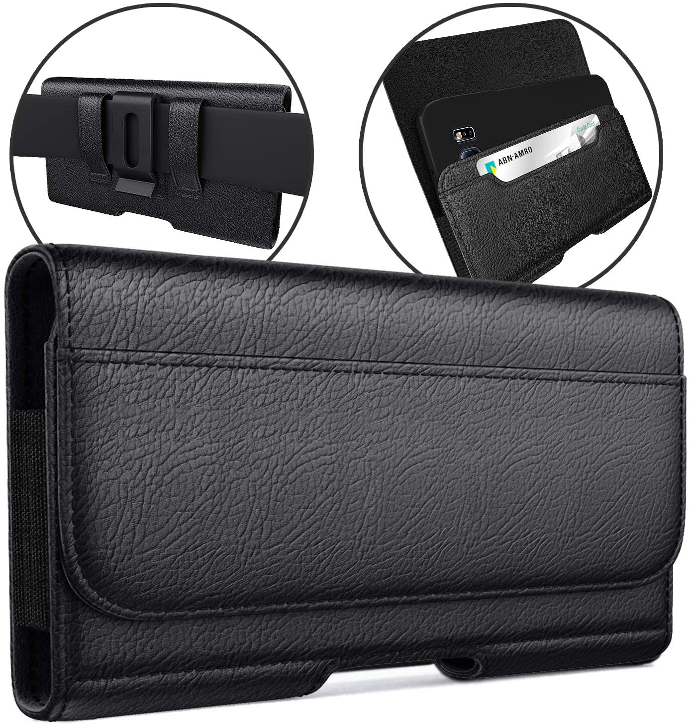 Meilib Phone Belt Holster Designed for iPhone 12 Pro Max/11 Pro Max/XS Max/8+ Plus/7+ Plus/ 6s+ Plus Cell Phone Belt Case with Belt Clip ID Card Holder Pouch Cover Fits Phone with Other Case on-Black