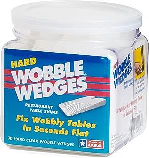 Wobble Wedge - Hard Clear - Restaurant Table Shims - 30 Piece Jar