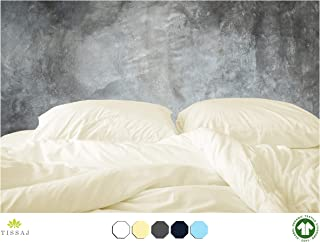 Tissaj 500-Thread-Count Organic Cotton Duvet Cover – 500TC Queen & Full Size Natural Color – for Bedding - 100% GOTS Certified Extra Long Staple, Soft Sateen Weave Finish - Luxury Collection