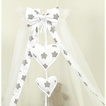 Support Fl/èche de lit Ciel de lit//Baldaquin// 230 x150cm Grey Stars Gris Blanc Grandes Etoiles