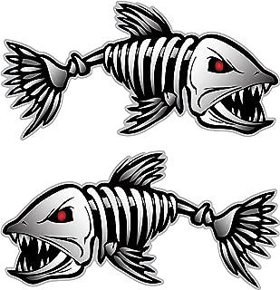 Digital Skeleton Fish (2) Vinyl Decals for Boat Fishing Graphics Bone Sticker