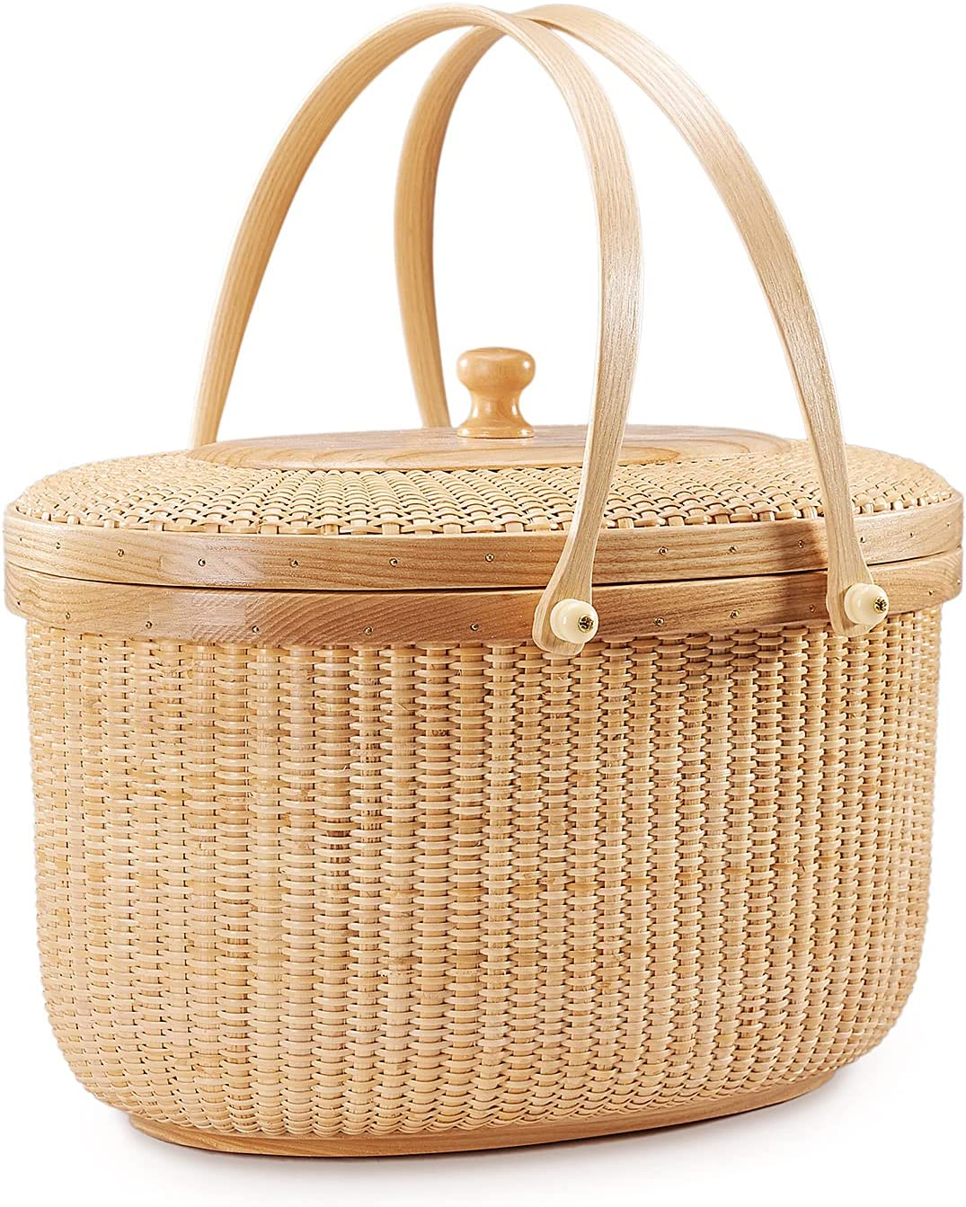 Teng Jin Nantucket Sewing Basket Wood Hand 40% OFF Cheap Sale Dual Minneapolis Mall Containers with