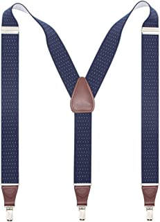 Bioterti Men's Y-shape 1.4 Inch Suspender -3 Metal Clips, Elastic Straps
