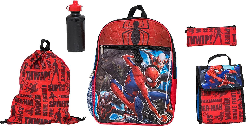 Marvel Boys' Spiderman 5 Pc Set Backpack, bluee, One Size