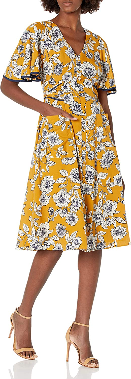 Eliza J Women's Floral Button Front Midi Dress