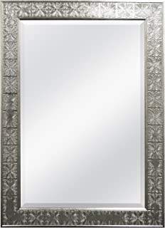 MCS 24x36 Inch Stamped Medallion Wall Mirror, 32x44 Inch Overall Size, Champagne Silver (47700), 32 by 44-Inch,