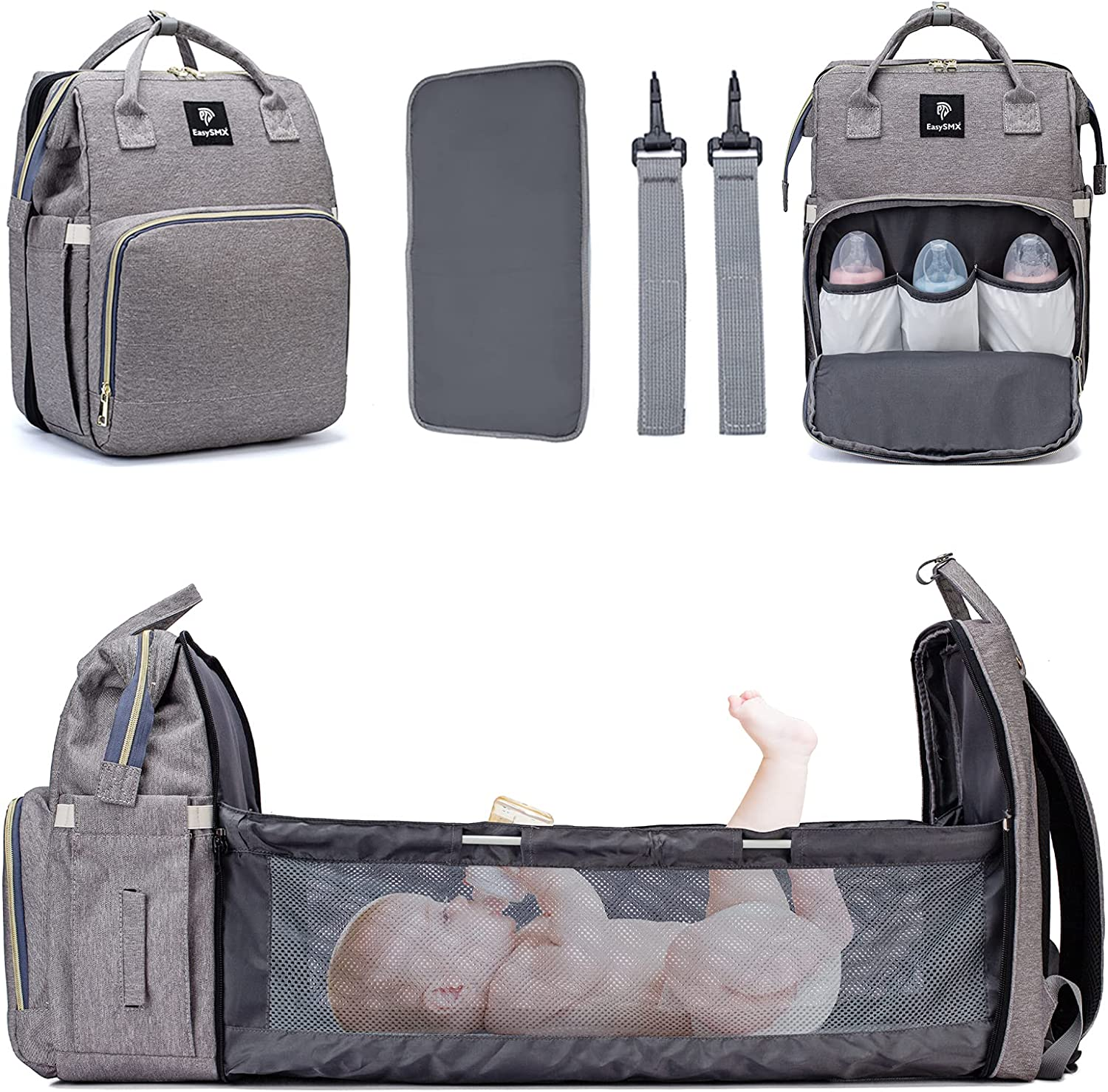 3 in 1 Baby Travel Diaper Bag Backpack with Changing Station, Portable Travel Backpack Diaper Bags for Baby Boy & Girl, Waterproof Baby Bags for Boys Large Capacity Heat Preservation Grey