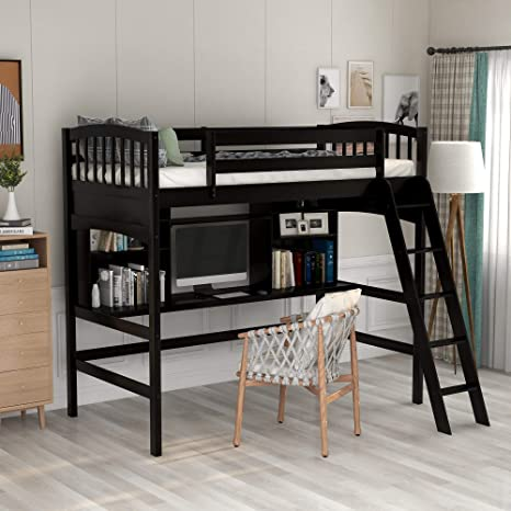 Amazon Com Loft Bed With Desk Loft Bed For Kids And Teenagers Twin Size Espresso Kitchen Dining