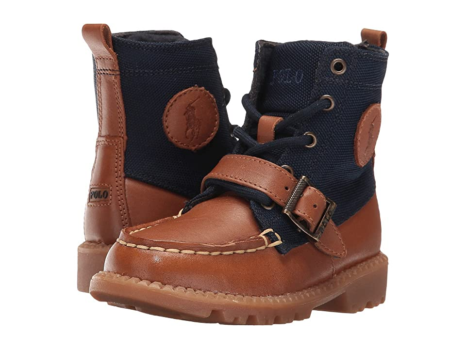 Polo Ralph Lauren Kids Ranger Hi II (Toddler) (Tan Leather/Navy Nylon) Boys Shoes