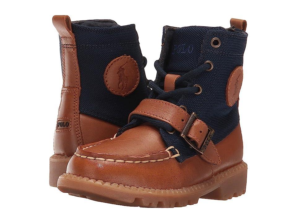 Polo Ralph Lauren Kids Ranger Hi II (Toddler) (Tan Leather/Navy Nylon) Boys Shoes