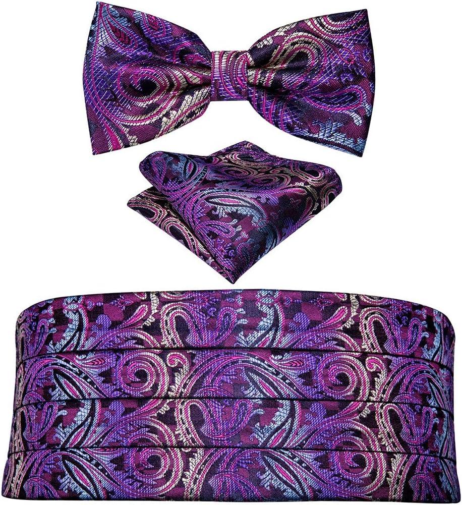 WODMB Men Cummerbund Red Silk Bow Tie Handkerchief Cufflinks Set Wedding Waistband For Men Tuxedo Suit (Color : A, Size : One size)