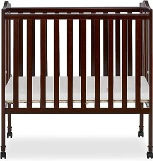 Dream On Me 2 in 1 Lightweight Folding Portable Stationary Side Crib, Espresso