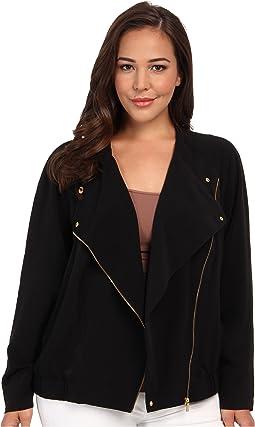 Plus Size Soft Moto Jacket