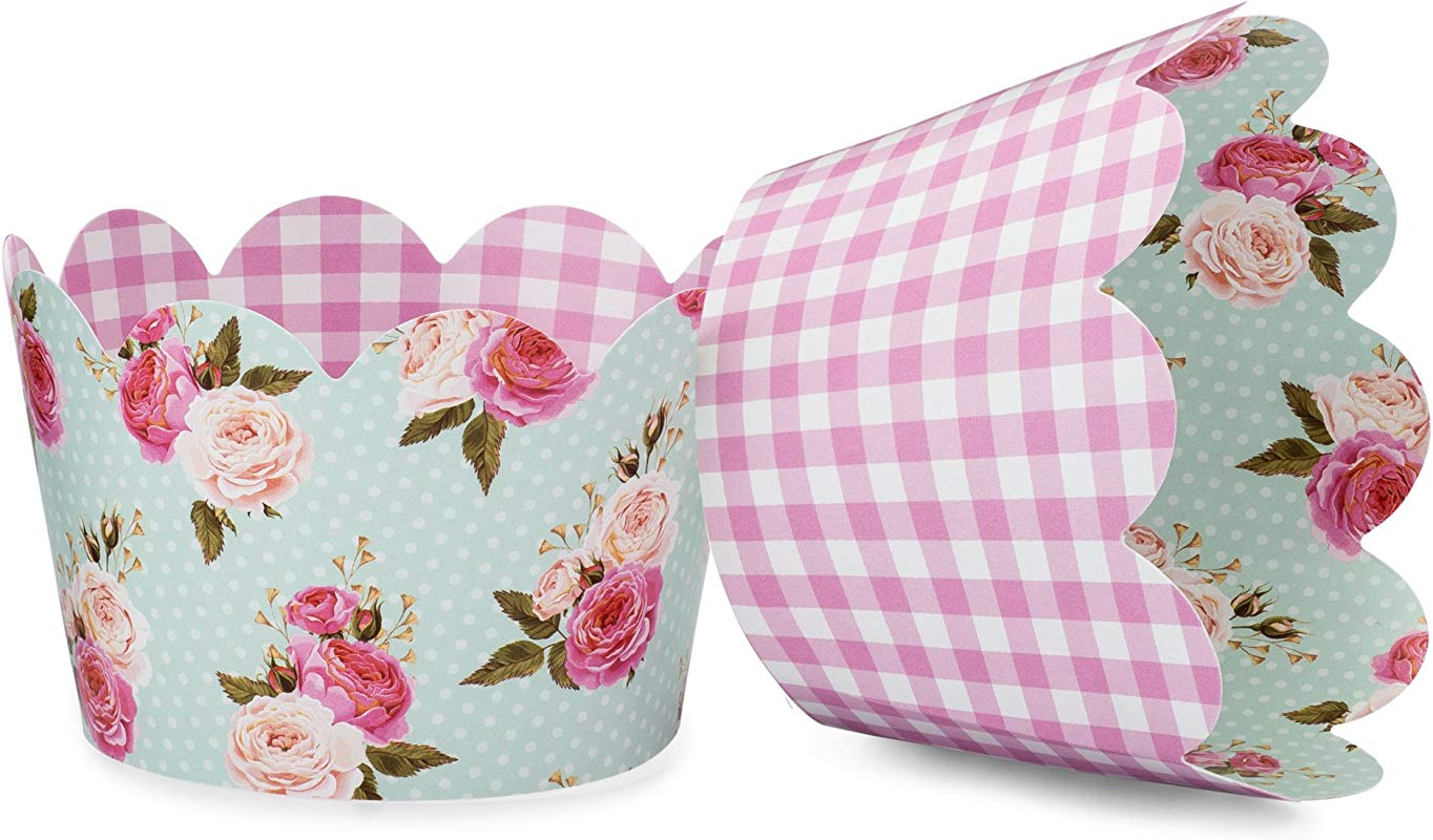 Shabby Chic Floral Cupcake Wrappers For Girls Birthday Parties Boho Themed Parties Floral Baby Or Bridal Showers And Weddings Set Of 24 Reversible Pink Gingham Vintage Floral Cup Cake Holder
