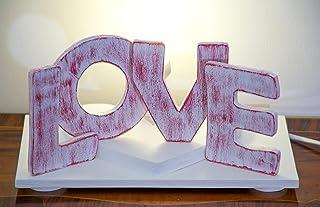 """Lampada da tavolo in legno con scritta""""LOVE"""""""