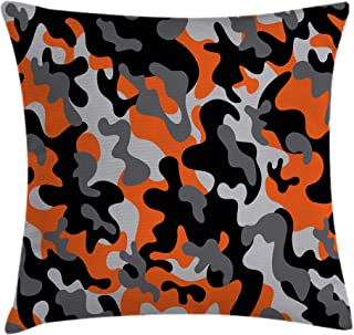 Ambesonne Camo Throw Pillow Cushion Cover, Vibrant Camouflage Lattice Like Service Theme Modern Design Print, Decorative Square Accent Pillow Case, 18