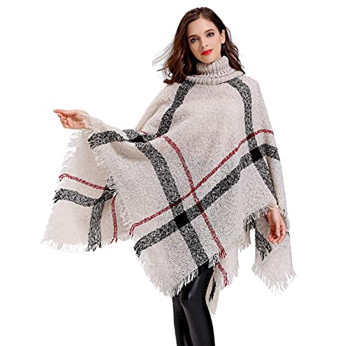 7b273097f0bb HITOP Womens Dress Ponchos, Boho Loose Tassel Plaid Poncho Turtleneck  Jumper Knit Oversized Pullover Sweater